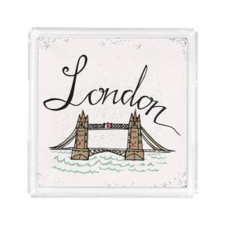 Hand Lettered London Bridge Acrylic Tray