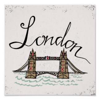 Hand Lettered London Bridge Poster