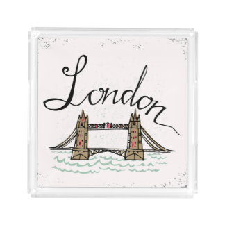 Hand Lettered London Bridge Serving Tray