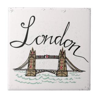Hand Lettered London Bridge Tile