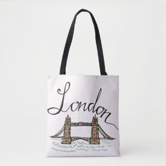 Hand Lettered London Bridge Tote Bag