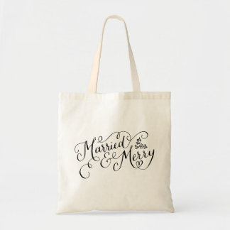 Hand Lettered Married and Merry Newlywed Holiday Tote Bag