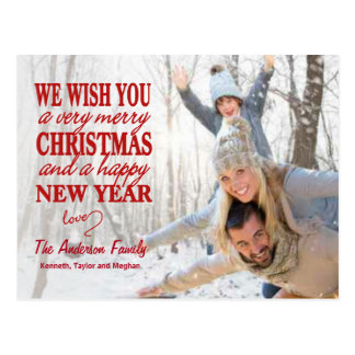 Hand Lettered Merry Christmas Full-Photo Postcard
