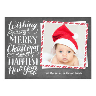 """Hand Lettered Merry Christmas Happy New Year 5"""" X 7"""" Invitation Card"""
