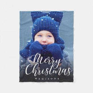 Hand Lettered Merry Christmas Holiday Photo Fleece Blanket