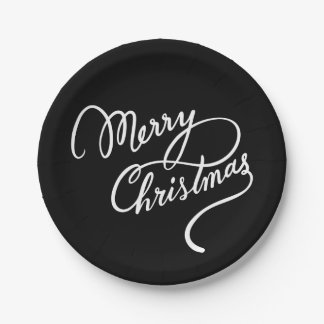 HAND-LETTERED MERRY CHRISTMAS | PARTY PLATE