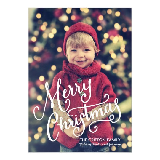 Hand Lettered Merry Christmas Photo Card