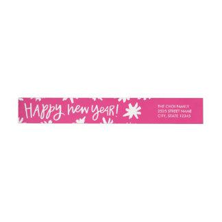 Hand Lettered New Year Wraparound Label - Pink Wraparound Return Address Label