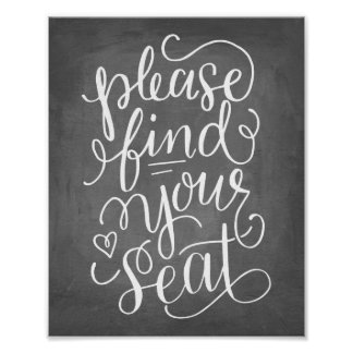 Hand Lettered Please Find Your Seat Sign