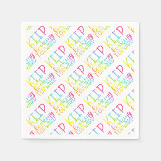 Hand Lettered Rainbow Keep Moving Forward Paper Napkin