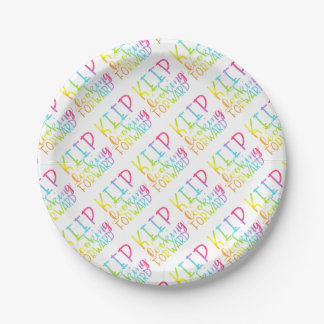 Hand Lettered Rainbow Keep Moving Forward Paper Plate