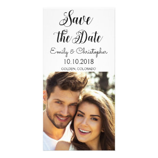 Hand Lettered Script Wedding Save the Date Photo Card