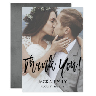 Hand Lettered Script Wedding Thank You Photo Card