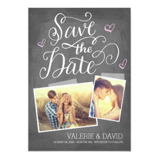 """Hand lettered Snapshot 2-Photo Save the Date 5"""" X 7"""" Invitation Card"""
