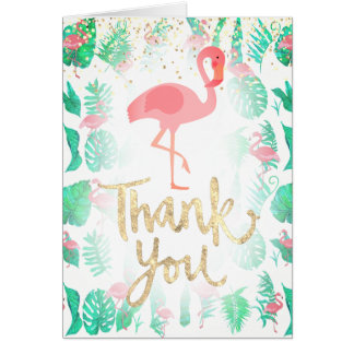hand-lettered thank you  tropical flamingo card