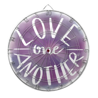 Hand-Lettered Watercolor Bokeh Love One Another Dartboard