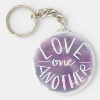 Hand-Lettered Watercolor Bokeh Love One Another Keychain