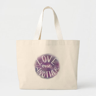 Hand-Lettered Watercolor Bokeh Love One Another Large Tote Bag