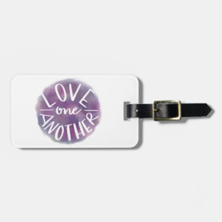 Hand-Lettered Watercolor Bokeh Love One Another Luggage Tag