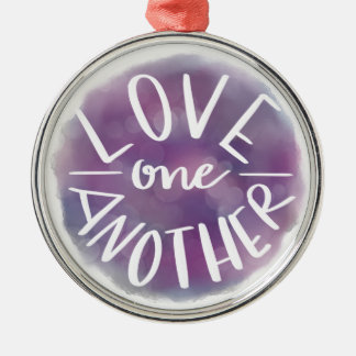 Hand-Lettered Watercolor Bokeh Love One Another Metal Ornament