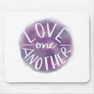 Hand-Lettered Watercolor Bokeh Love One Another Mouse Pad