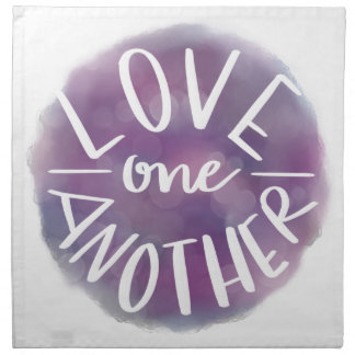 Hand-Lettered Watercolor Bokeh Love One Another Napkin