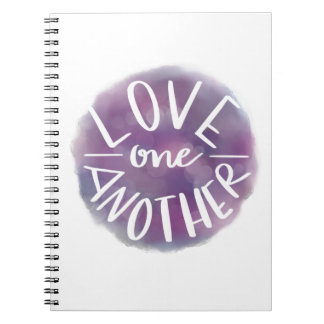 Hand-Lettered Watercolor Bokeh Love One Another Notebook