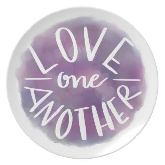 Hand-Lettered Watercolor Bokeh Love One Another Plate