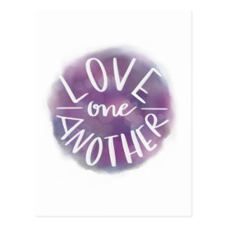 Hand-Lettered Watercolor Bokeh Love One Another Postcard