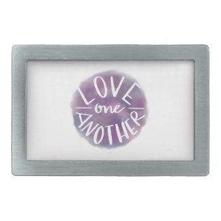 Hand-Lettered Watercolor Bokeh Love One Another Rectangular Belt Buckles