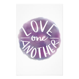 Hand-Lettered Watercolor Bokeh Love One Another Stationery