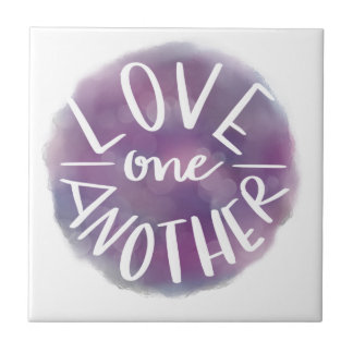 Hand-Lettered Watercolor Bokeh Love One Another Tile