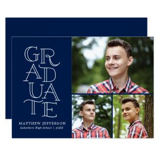 Hand Lettering Graduation Announcement Three Photo