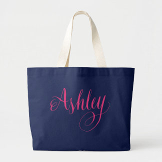 Hand Lettering Typography Design, Name - Ashley Large Tote Bag