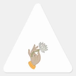 Hand & Lotus Triangle Sticker