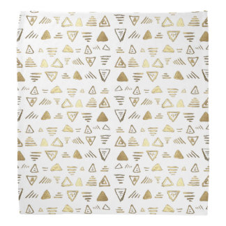Hand made faux gold paint aztec pattern bandana