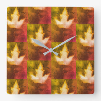 Hand Made Maple Leaf Pattern Artisan Square Wall Clock