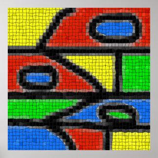 Hand-made mosaic, modern art. poster