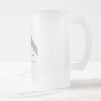 Hand making heart sign with breast cancer ribbon frosted glass beer mug