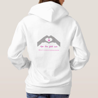 Hand making heart sign with breast cancer ribbon hoodie