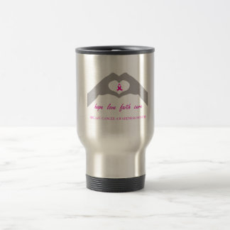 Hand making heart sign with breast cancer ribbon travel mug