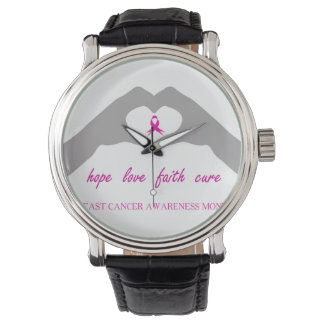 Hand making heart sign with breast cancer ribbon watch