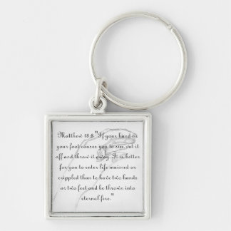 hand Matthew 18:8 Silver-Colored Square Keychain