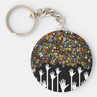 Hand medicine basic round button keychain