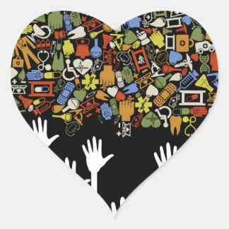 Hand medicine heart sticker