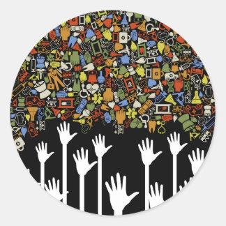 Hand medicine round sticker