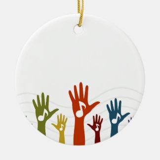 Hand music ceramic ornament
