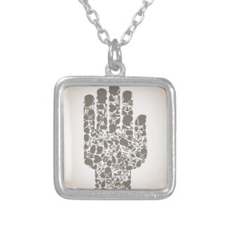 Hand of a part of a body silver plated necklace