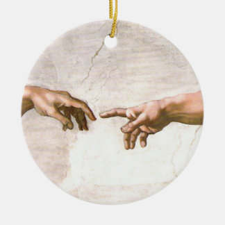 Hand of God by Michelangelo Ceramic Ornament