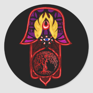 Hand of Hamsa feat: Tree of Life 3 Round Sticker